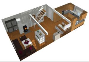 Perspektiv over kjøkken og stue